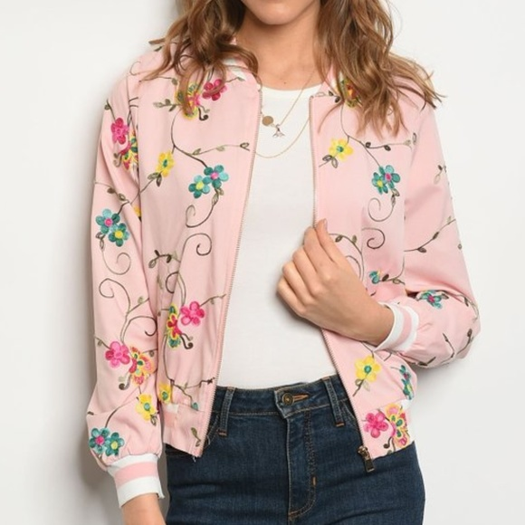 Inspired Closet Jackets & Blazers - SPRING Embroidered Pink Floral Bomber Jacket